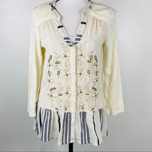 Anthropologie C Keer Boho Peasant Top Size Small